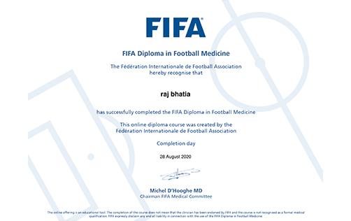 certificate for fifa diploma in football medicine that raj bhatia completed in august 2020