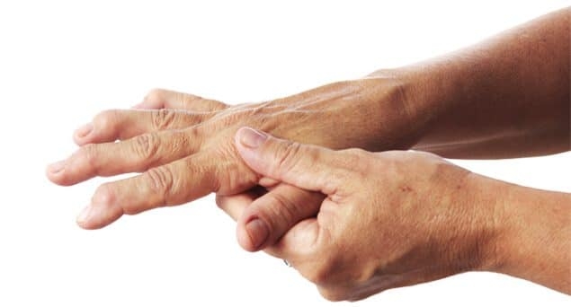 photograph of an elderly person's hands suffering from arthritis which Raj Bhatia has a treatment for numerous degenerative conditions which can afflict the joints, tendons and ligaments of the hand and wrist